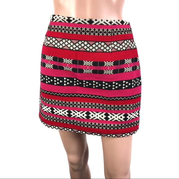 d595d9e58 Zara Skirts | Woman Red Black Multicolored Knit Skirt M | Poshmark